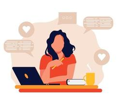 Young woman working on Laptop, Freelance or studying concept. Cute trendy illustration in flat style. vector