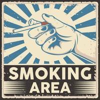 Smoking Area Retro Style Poster Vector Illustration