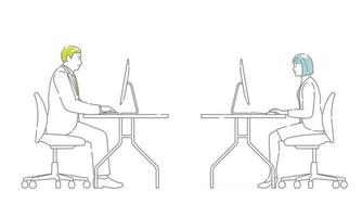 Set Of Vector Business People Working At The Desks Isolated On A White Background