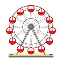 Cartoon vector illustration isolated object amusement park Ferris wheel