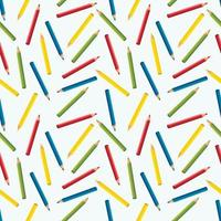 Seamless pattern of colored pencils on a white background. vector