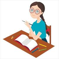 A girl with glasses and a dreamy look is sitting at her desk. An open notebook and scattered pencils. vector