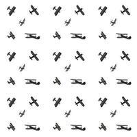 conjunto de siluetas de dibujos animados lindo avión. patrón sin costuras. ilustración vectorial vector