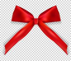 Design Product Red Ribbon and Bow on transparent background. 3D Realistic Vector Illustration.