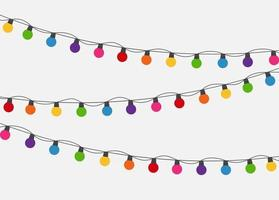 Multicolored Garland Lamp Bulbs Festive Background Vector Illustration