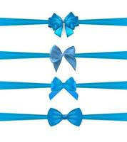 Collection Set of blue bows with horizontal  ribbon isolated on white background. Vector illustration