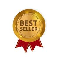 Gold Label Best Seller. Vector Illustration