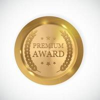 Premium Award Gold Medal. Vector Illustration