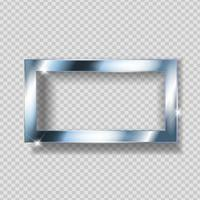 Silver Paint Glittering Textured Frame on Transparent Background. Vector Illustration