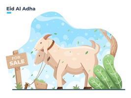 Illustration of Eid Al adha selling animals. Goat or sheep animals for sale during Eid Al adha Mubarak. vector