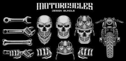 Set Bundle Illustration Motorcycle Club Vector