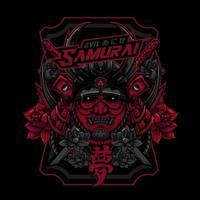 Evil Samurai Head Using Sword with Lotus Ornament vector