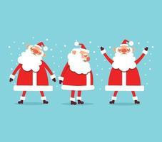 Navidad conjunto de divertidas cláusulas de santa sobre fondo azul. vector