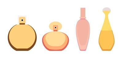 Collection of perfume and adekalon bottle icon. Vector Illustration