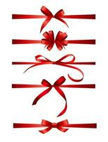Collection Set of red bows with horizontal  ribbon isolated on white background. Vector illustration