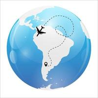 Airplane dotted flight background above world map. Vector Illustration
