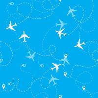 Airplane dotted flight seamless pattern background. Vector Illustration