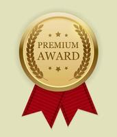 Premium Award Gold Medal with Red Ribbon. Icon Sign Isolated on White Background. Vector Illustration
