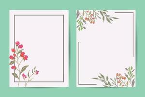 Vector floral greenery card desig frame. Wedding invite poster invitation hand drawn art illustration