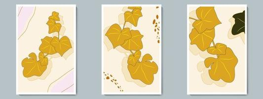 Botanical Wall Art Vector Poster Set. Minimalist Gold, Green Branch with Shadow, Leaves, Simple Shapes and Lines