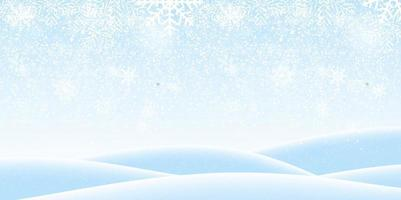 Colorful naturalistic winter background with falling snow on drifts. Vector Illustration