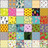 Big 36 Summer Seamless Pattern Background Collection Set. Vector Illustration