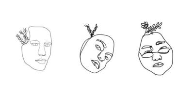 Womens faces in one line art style with flowers and leaves Continuous line art in elegant style for prints tattoos posters textile cards etc Beautiful women face Vector illustration