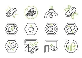 active charcoal line icon vector