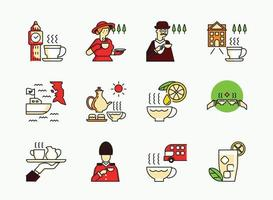 English tea icon set with madame vector