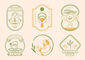 Chinese tea with classic badge style vector