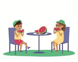 Children eat watermelon at a table outside vector