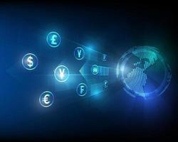 money exchange high speed internet network transfer blue abstract illustration vector