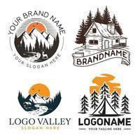 Cabin and mountain set logo design vector