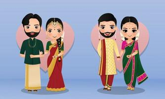 Set of Cute couple in traditional indian dress cartoon characters bride and groom.Wedding invitations card. vector