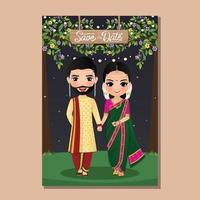 Wedding invitation card bride and groom cute couple in traditional indian dress cartoon character. Vector illustration.