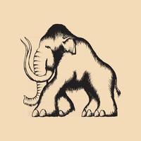 Prehistoric Mammoth Tattoo Illustration black vector