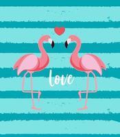 Cute Flamingo Love Background Vector Illustration