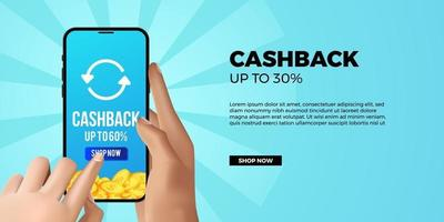 Cashback promotion banner for economy ecommerce financial app with 3d hand holding and touch phone with blue background vector