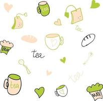 Vector drawing cute kitchen set in green and beige colors