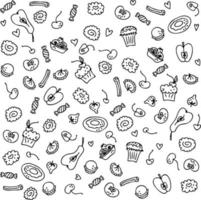 Doodle set of sweet cakes and fruits vector