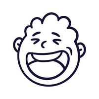 Round abstract face with happy emotion. Happy smiling emoji avatar. Portrait of a jubilant man. Cartoon style. Flat design vector illustration.