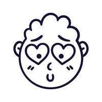 Round abstract face with falling in love emotions. Embarrassed emoji avatar. Portrait of a confused man. Cartoon style. Flat design vector illustration.