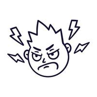 Round abstract face with angry emotion. Mad emoji avatar. Portrait of a grumpy man. Cartoon style. Flat design vector illustration.