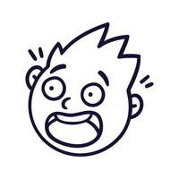 Round abstract face with frightened emotions. Scared emoji avatar. Portrait of a panicked man. Cartoon style. Flat design vector illustration.