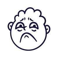 Round abstract face with sad emotions. Sorrow emoji avatar. Portrait of an upset man. Cartoon style. Flat design vector illustration.