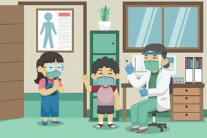 los médicos y los niños usan mascarillas durante el proceso de vacunación en la habitación del médico. Ilustración de libros para niños. vector. vector