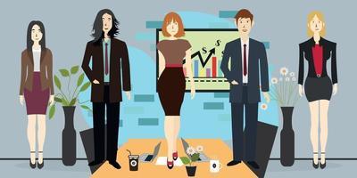 empresario, fondo de oficina con empleados que trabajan en la sala de reuniones, vector plano