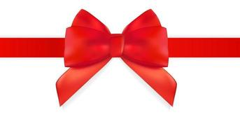 Decorative red bow with red ribbon isolated on white. 3D Realistic Vector Illustration.