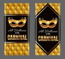 Popular Event Brazil Carnival in South America During Summe.  Background With Party Mask.  Masquerade Concept. Vector Illustration
