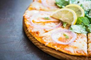 Smoked salmon pizza photo
